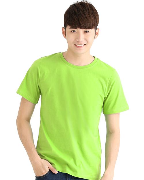 T恤純棉中性版圓領短袖 螢光綠