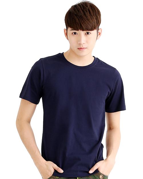 T恤純棉中性版圓領短袖 丈青