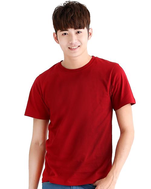 T恤純棉中性版圓領短袖 酒紅
