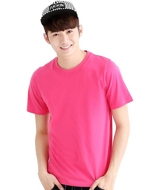 T恤 純棉 短袖 圓領 中性版 桃紅 TC25B-A01-222