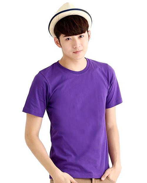 T恤純棉中性版圓領短袖 紫色