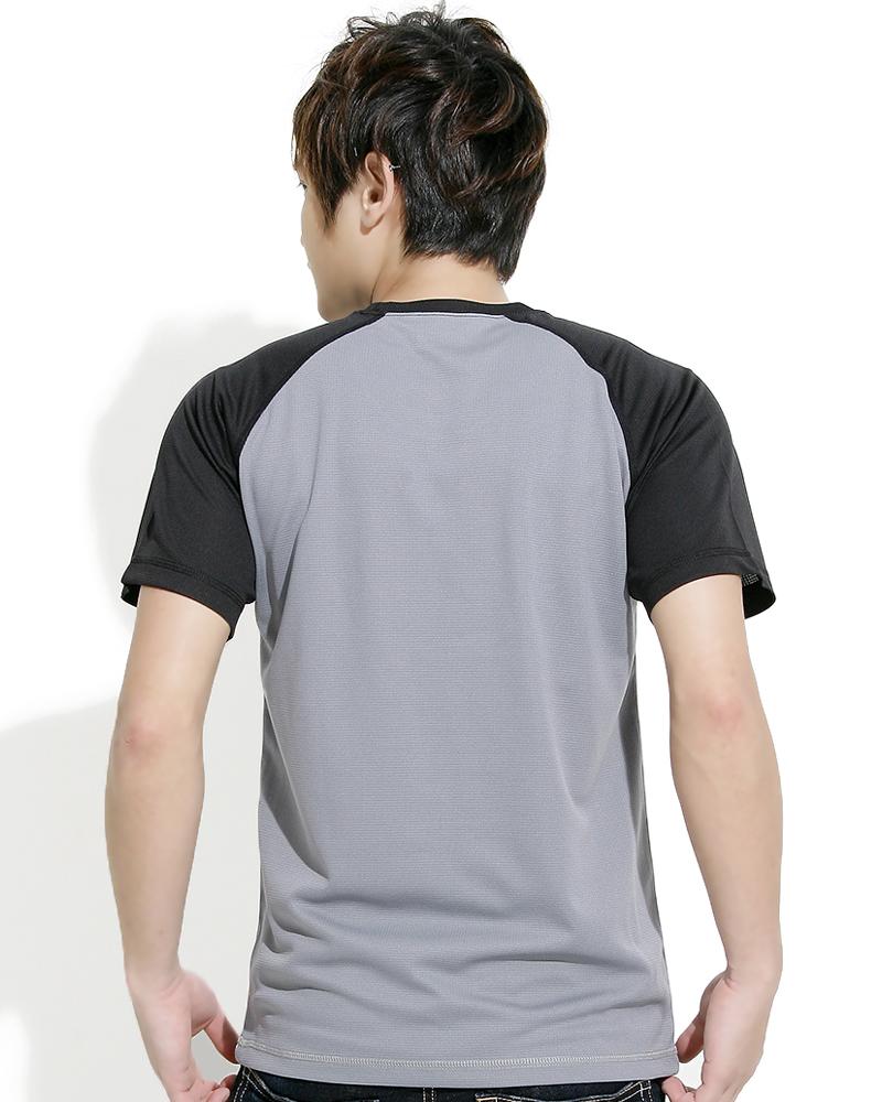 透氣T圓領斜袖 中性 灰黑