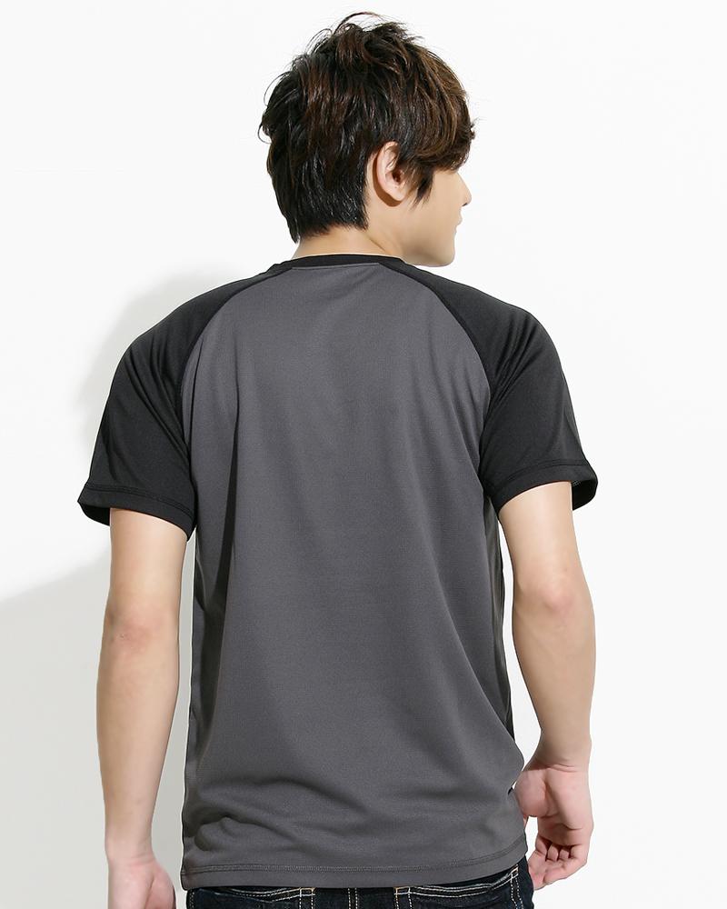 透氣排汗T 接袖 圓領短T 中性 斜袖款 深灰配黑 THTB-AA01-03