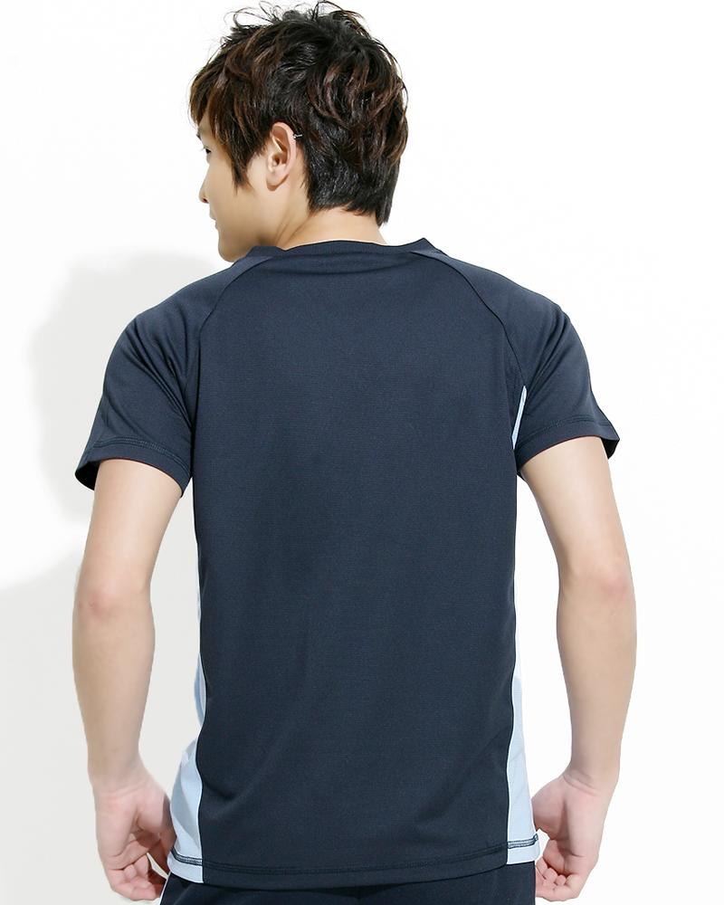 透氣排汗短T V領斜袖 中性 接片款 丈青 THTB-BB01-51