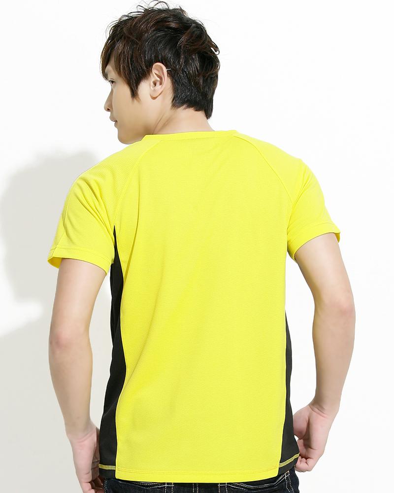 透氣排汗短T V領斜袖 中性 接片款 黃色 THTB-BB01-31