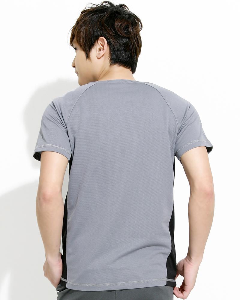 透氣排汗短T V領斜袖 中性 接片款 淺灰 THTB-BB01-02