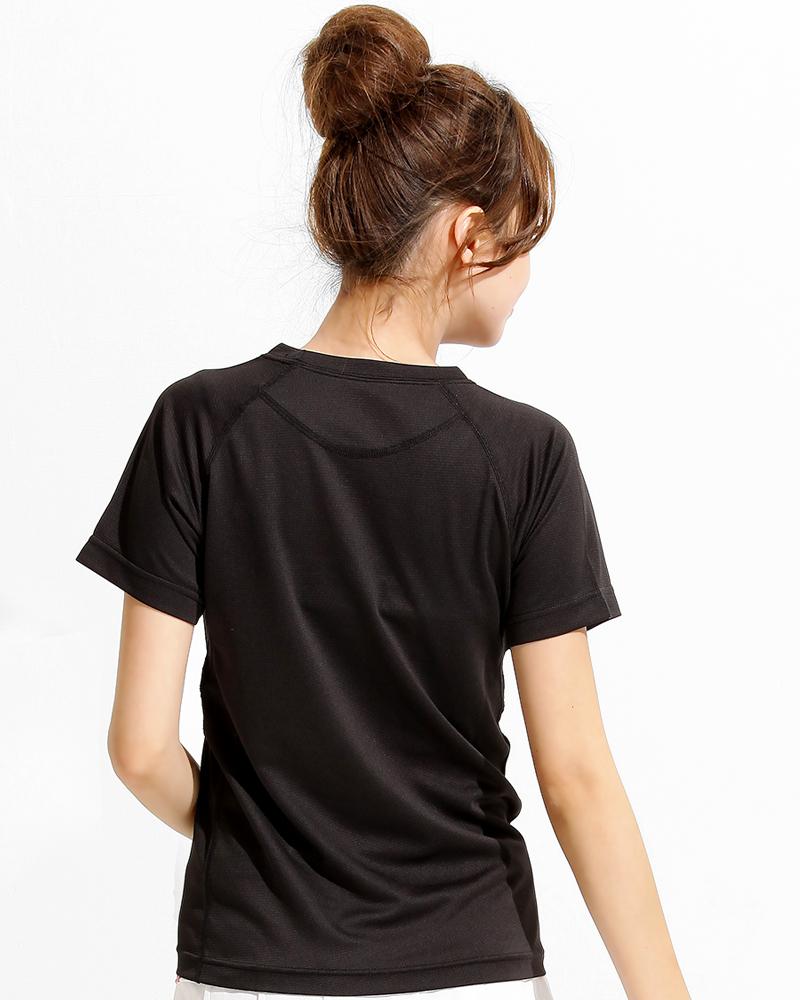 透氣T圓領斜袖 腰身 黑色