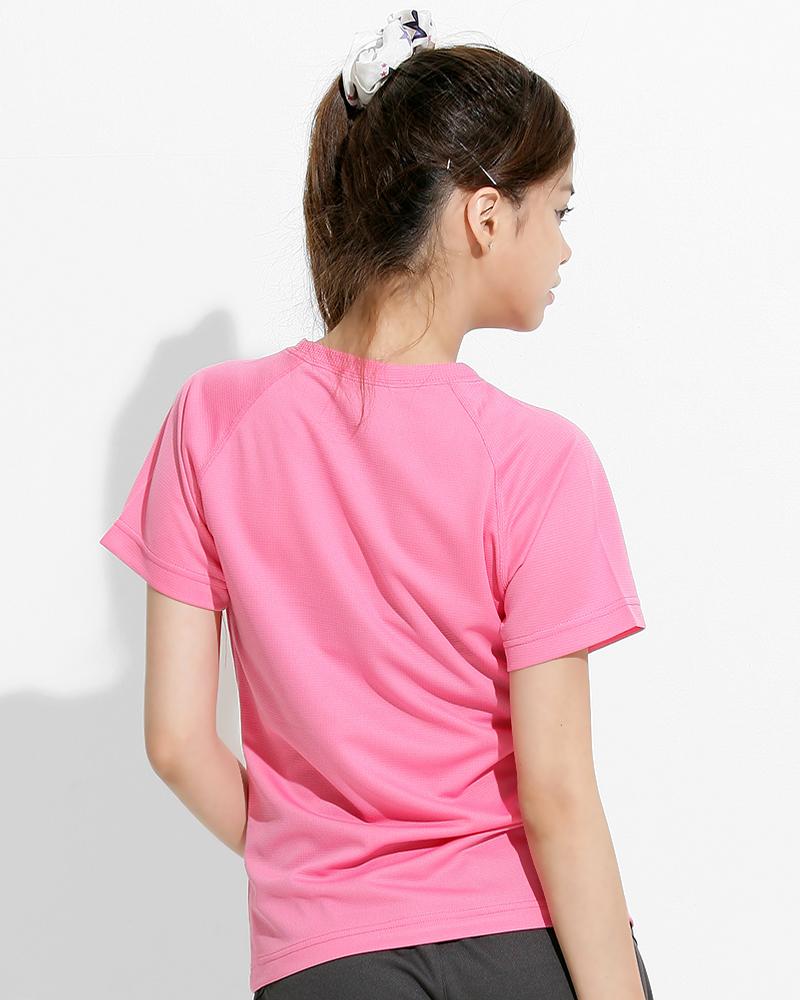 透氣T圓領斜袖 腰身 粉紅