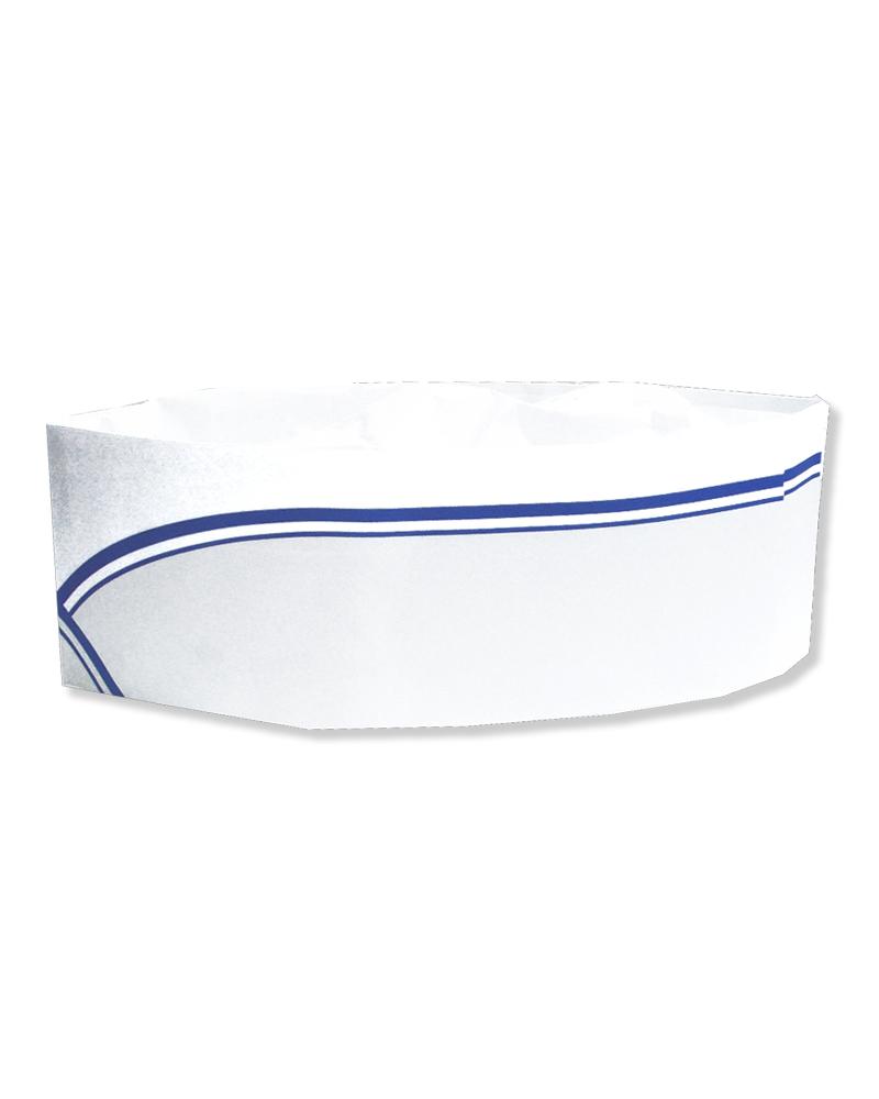 廚師帽 船型帽 藍邊