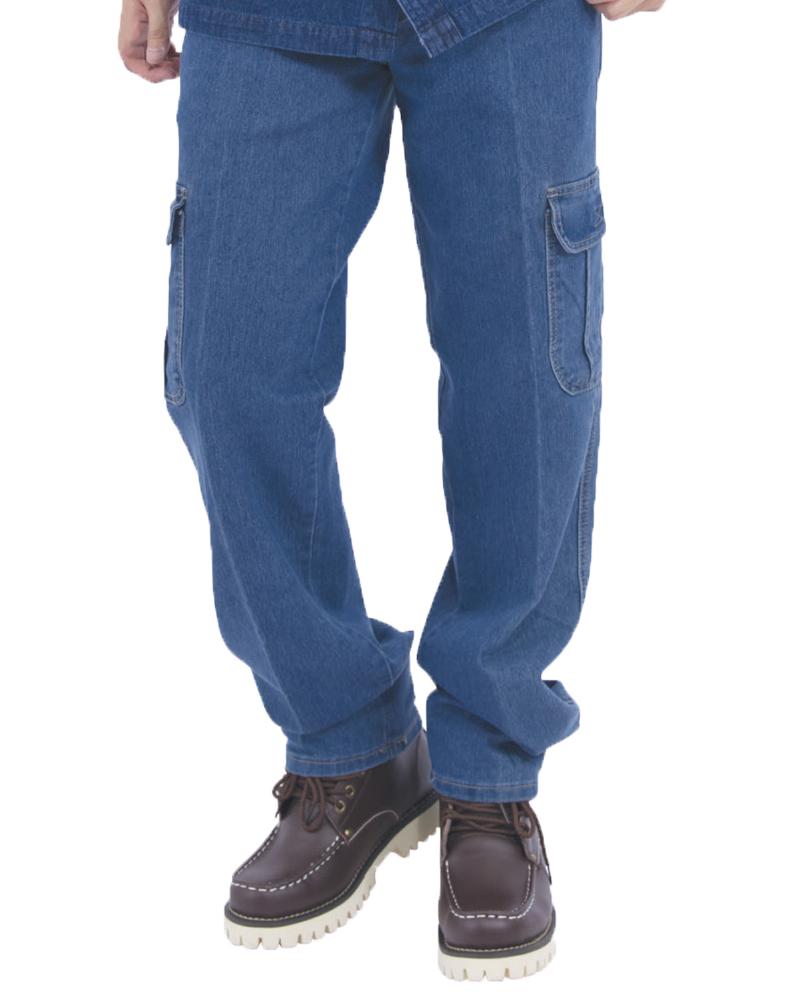 斜口袋彈力貼袋牛仔褲