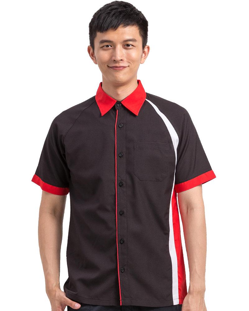 經理服 短袖 訂製款 黑配紅白MAG-A21