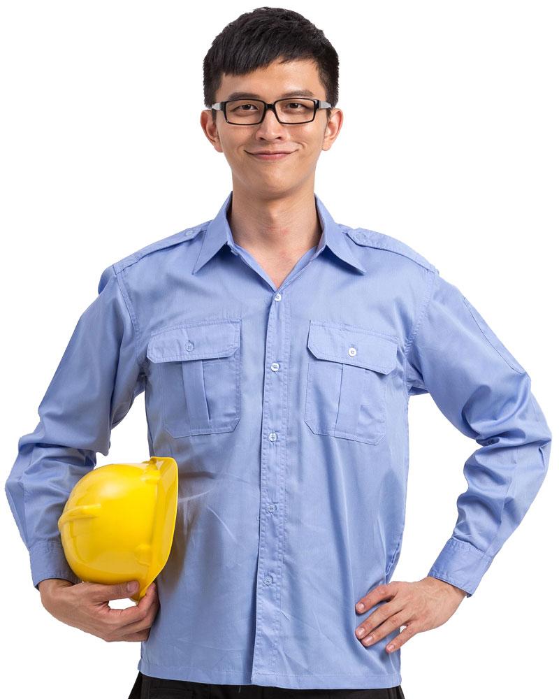 工作服 長袖 訂製 水藍WORK-B08