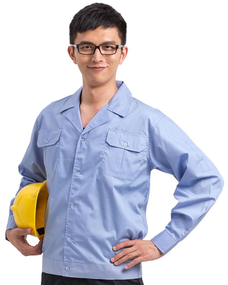 工作服 長袖 訂製 水藍WORK-B04