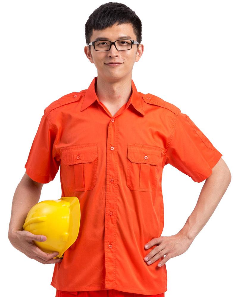 工作服 短袖 訂製 橘WORK-A06