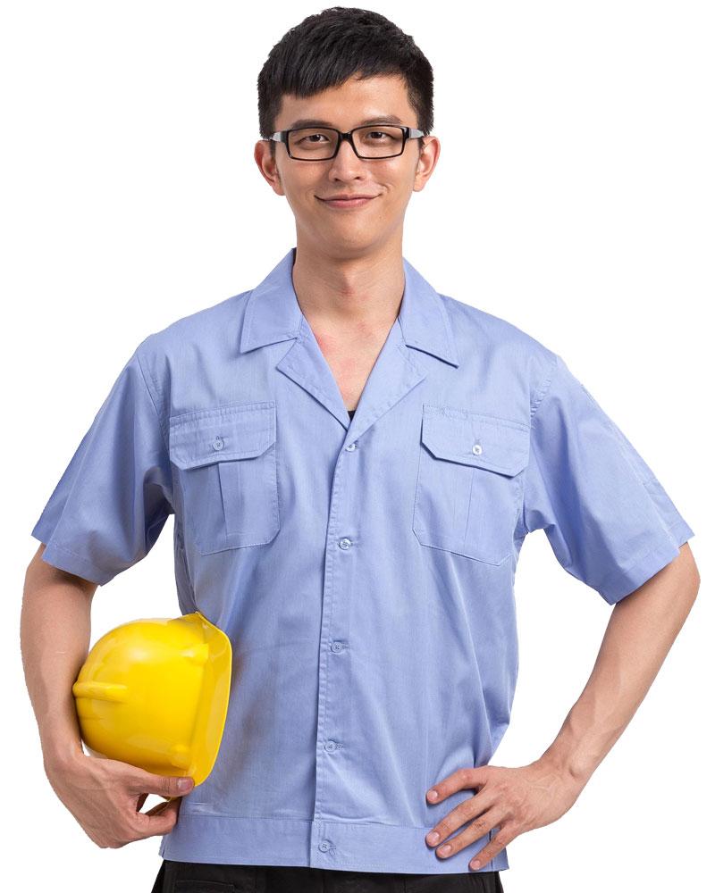 工作服 短袖 訂製 水藍WORK-A05