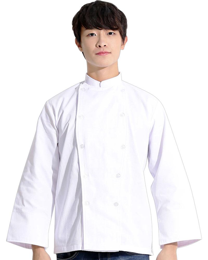 廚師服 雙排白釦 長袖 白CCW-CAN-BB-09