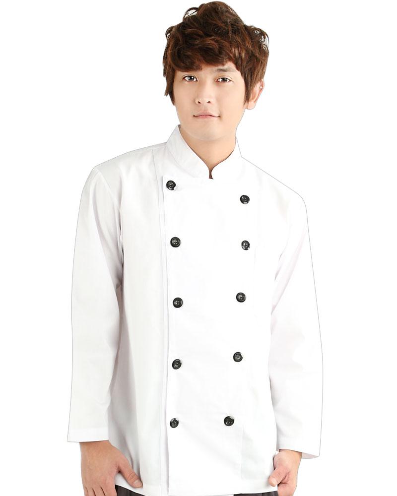 廚師服 雙排黑扣 長