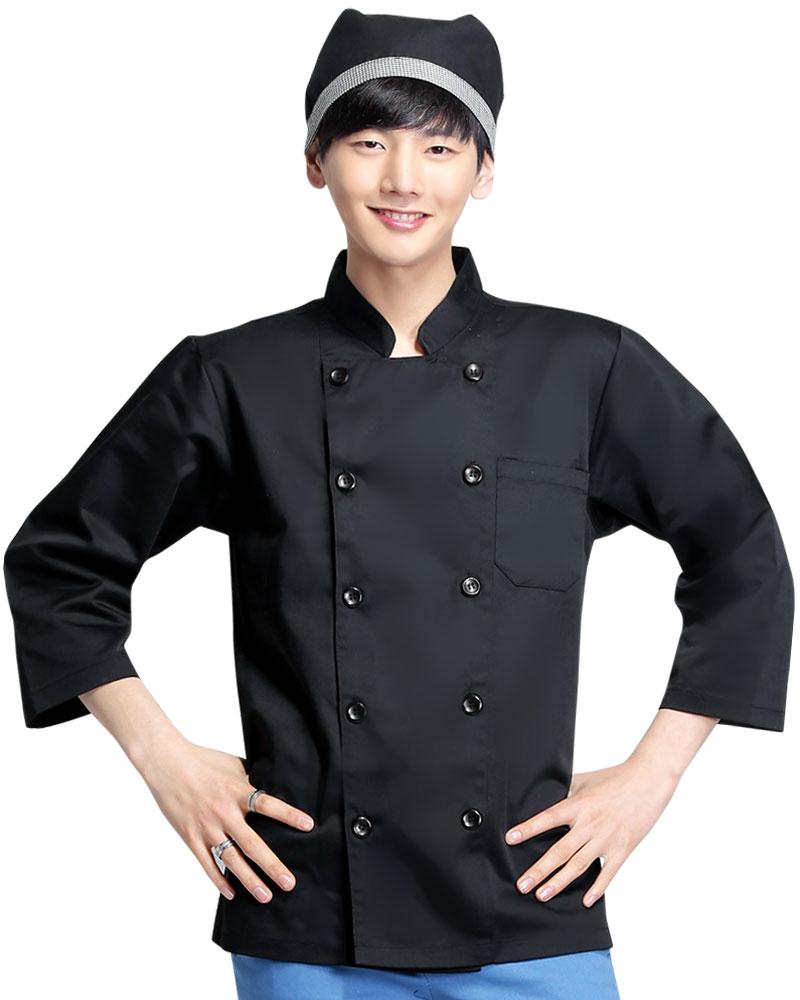 廚師服 雙排黑釦 長