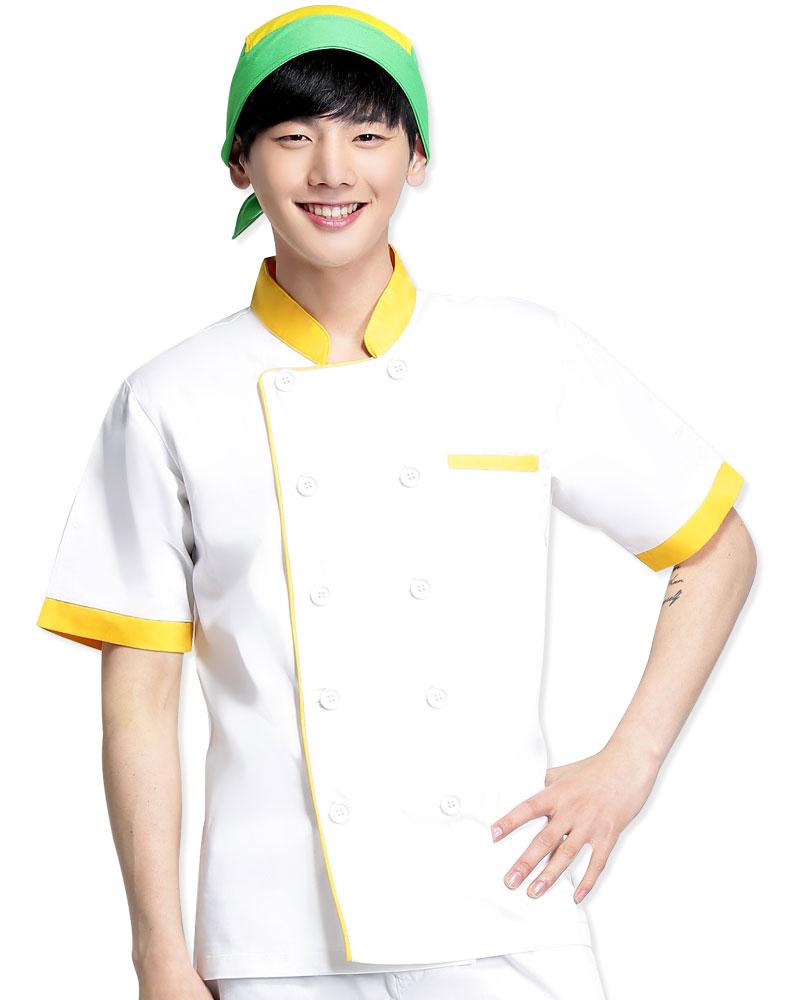 廚師服 雙排白扣 短
