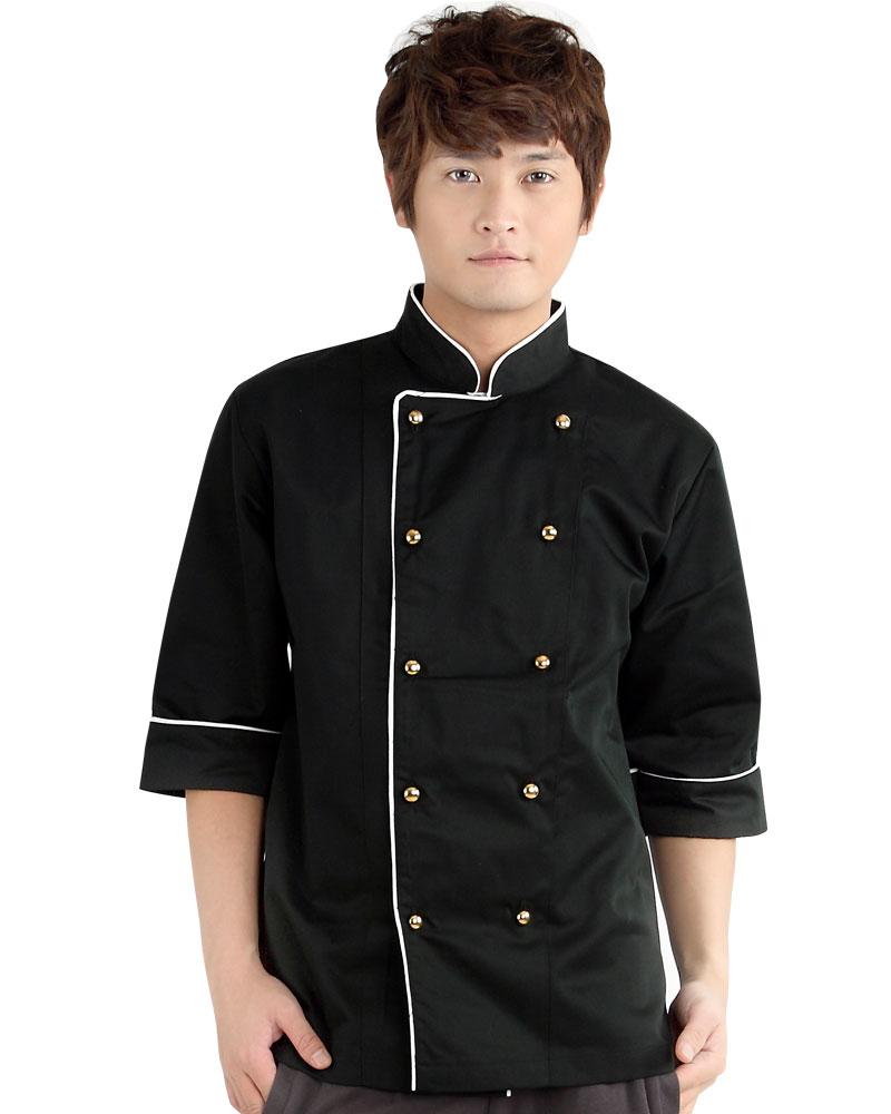 廚師服 雙排金釦 黑
