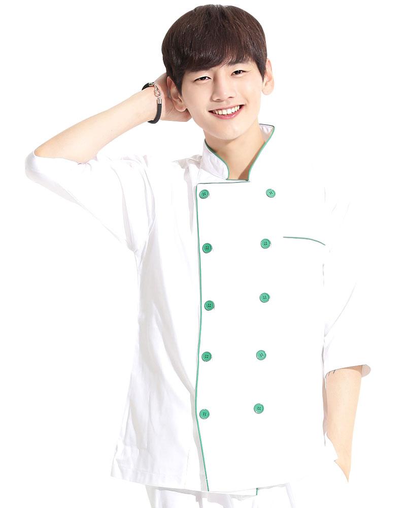 廚師服 雙排綠釦 出