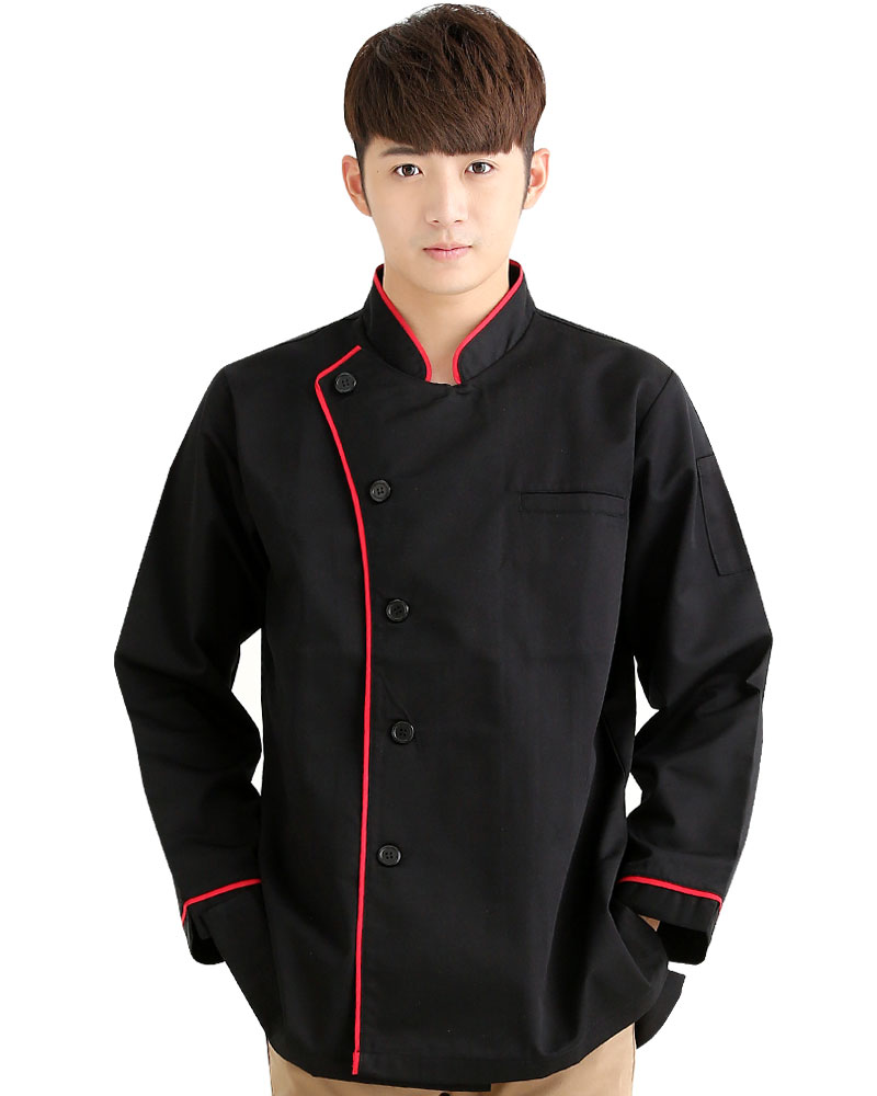 廚師服 單排黑釦 長