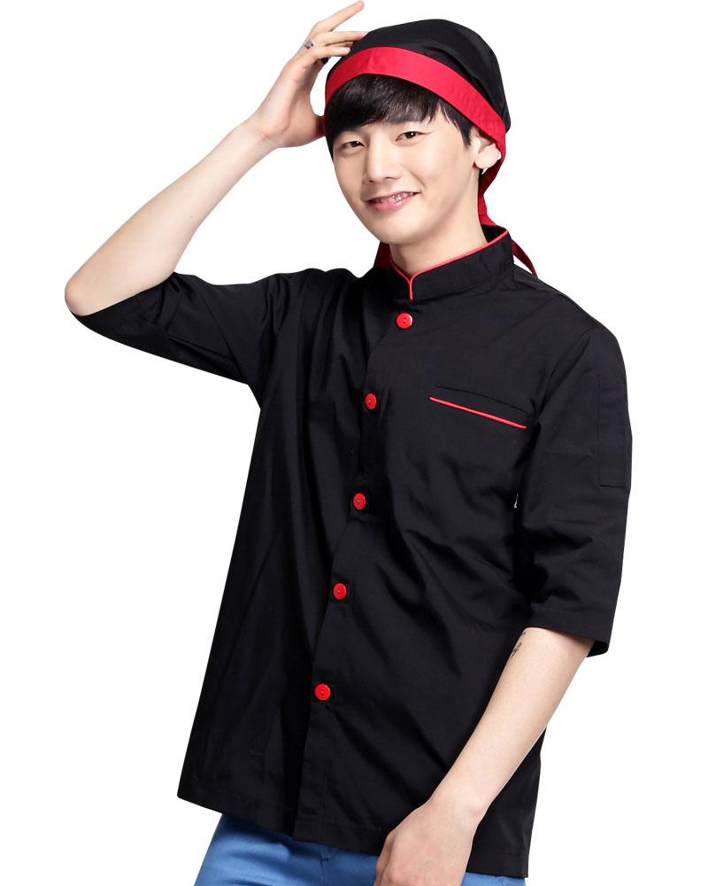 廚師服 單排紅釦 黑