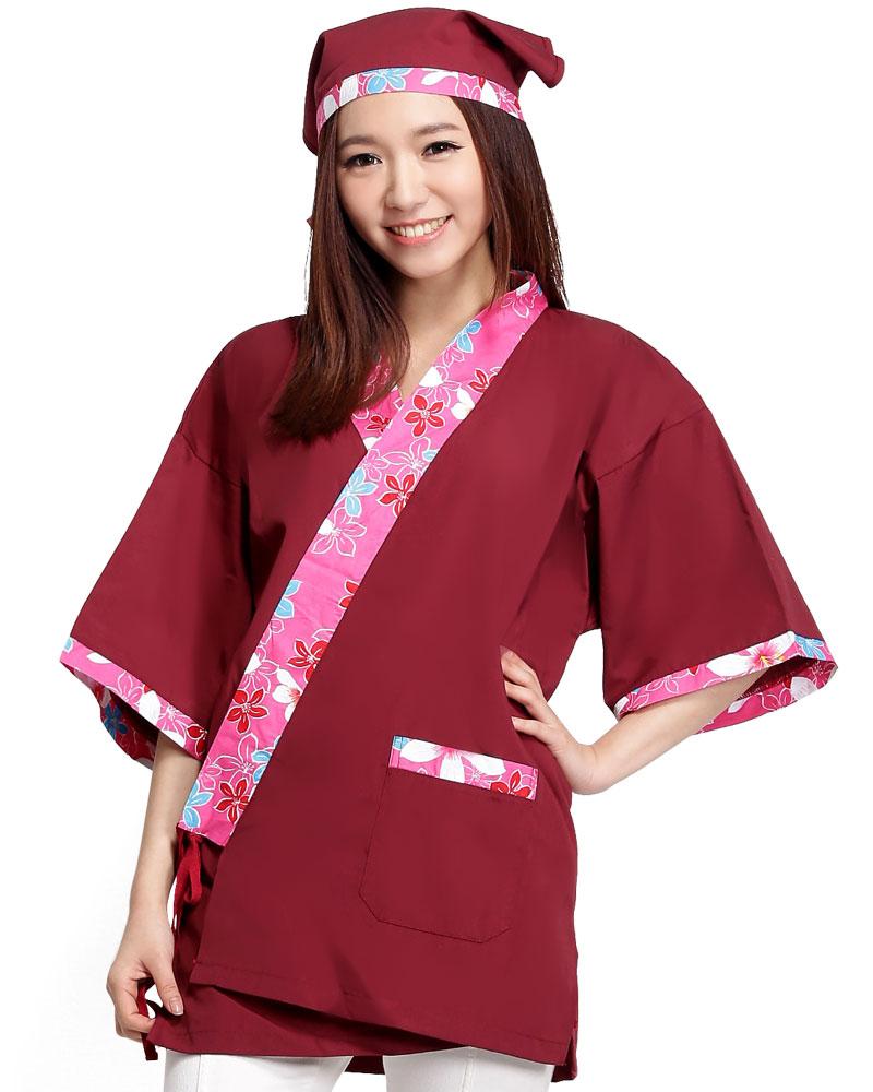 日式和服 花布/酒紅