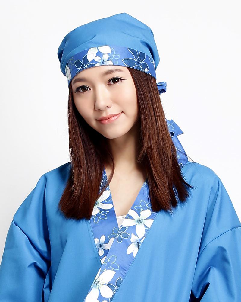 頭巾帽 藍色花布款