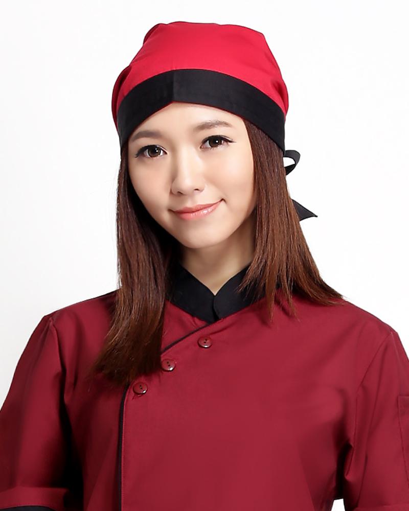 頭巾帽 紅底黑邊款H