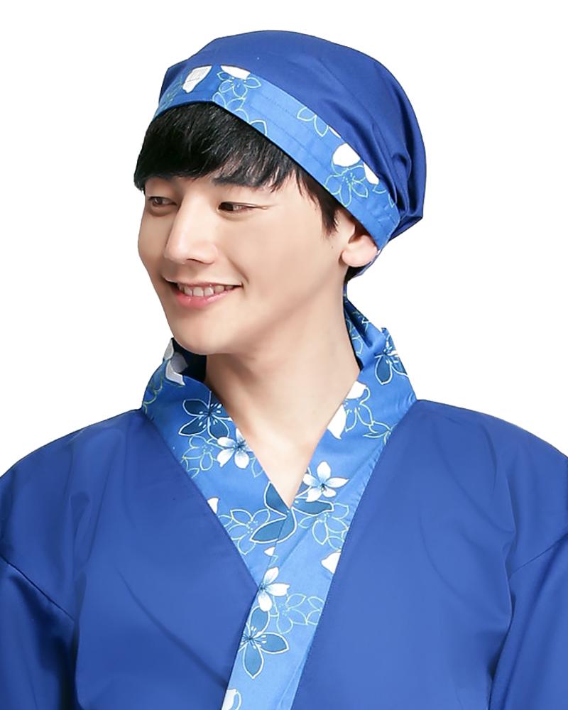 三角頭巾 寶藍花布款