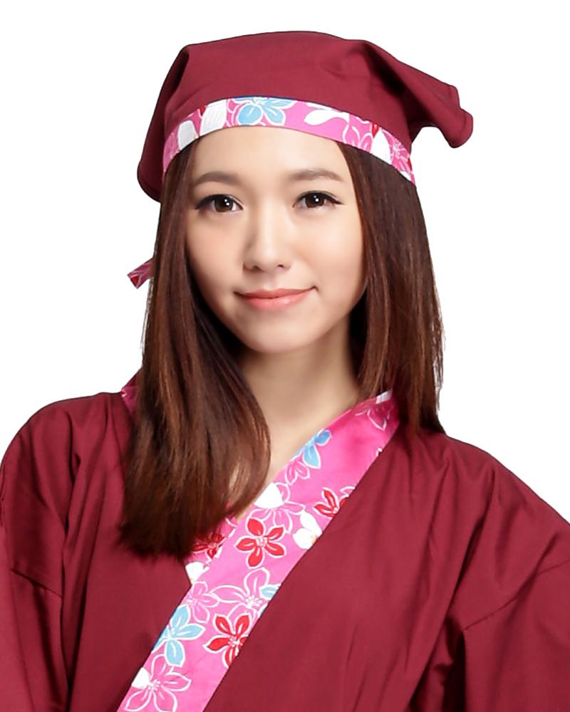 三角頭巾 粉紅花布款