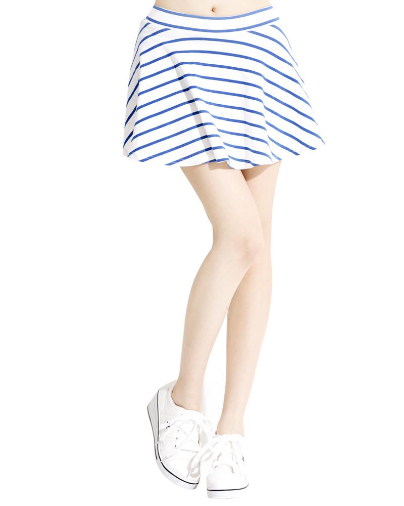 條紋 短褲裙 白底藍
