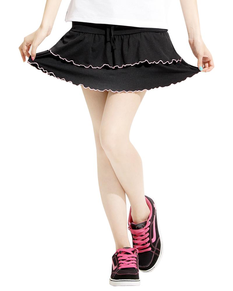 蛋糕裙 黑粉紅邊SK