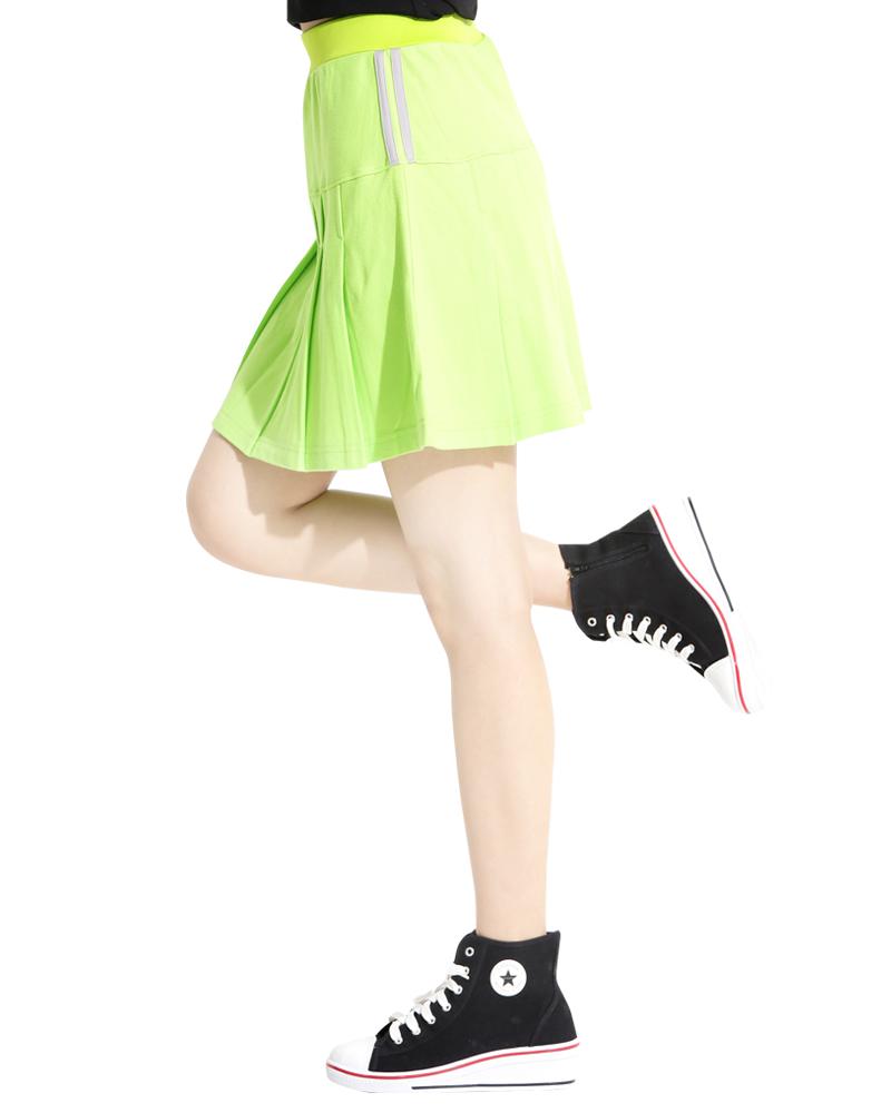 運動裙 短裙 螢光綠