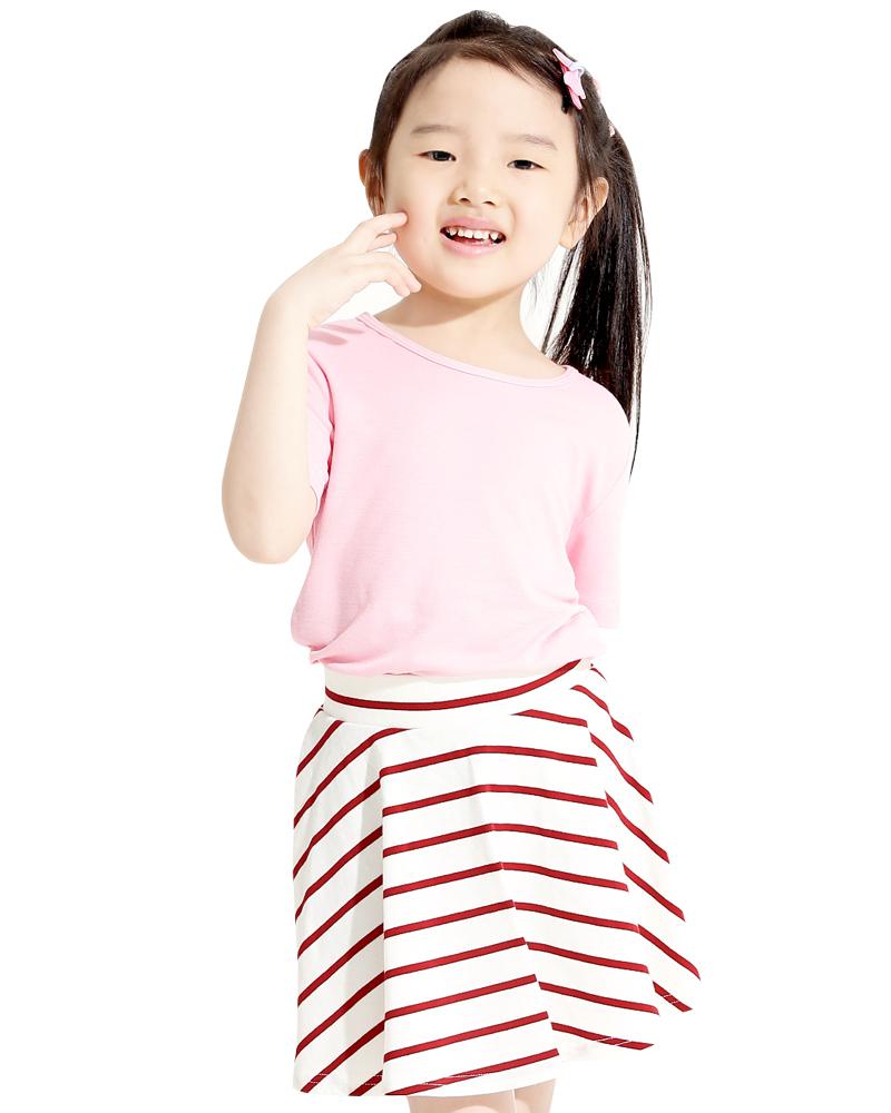 條紋短褲裙 白底紅條