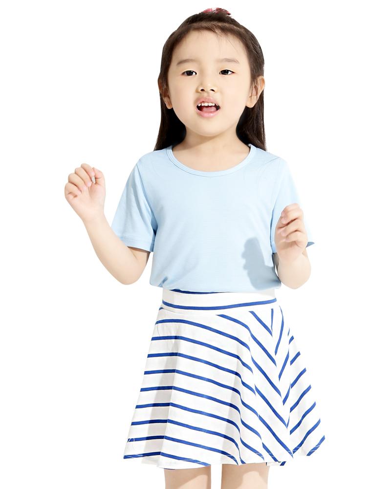 條紋短褲裙 白底藍條