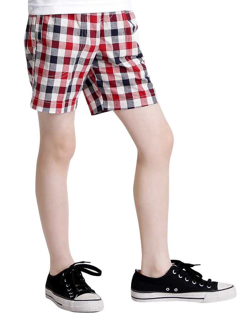 格紋短褲訂製童-紅P