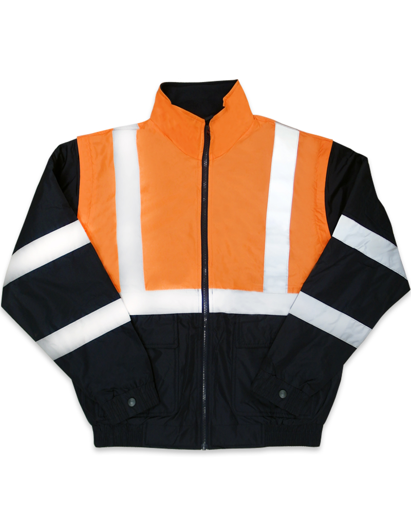 螢光橘反光脫袖夾克C