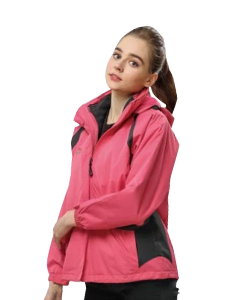 三層夾克二件式 桃紅