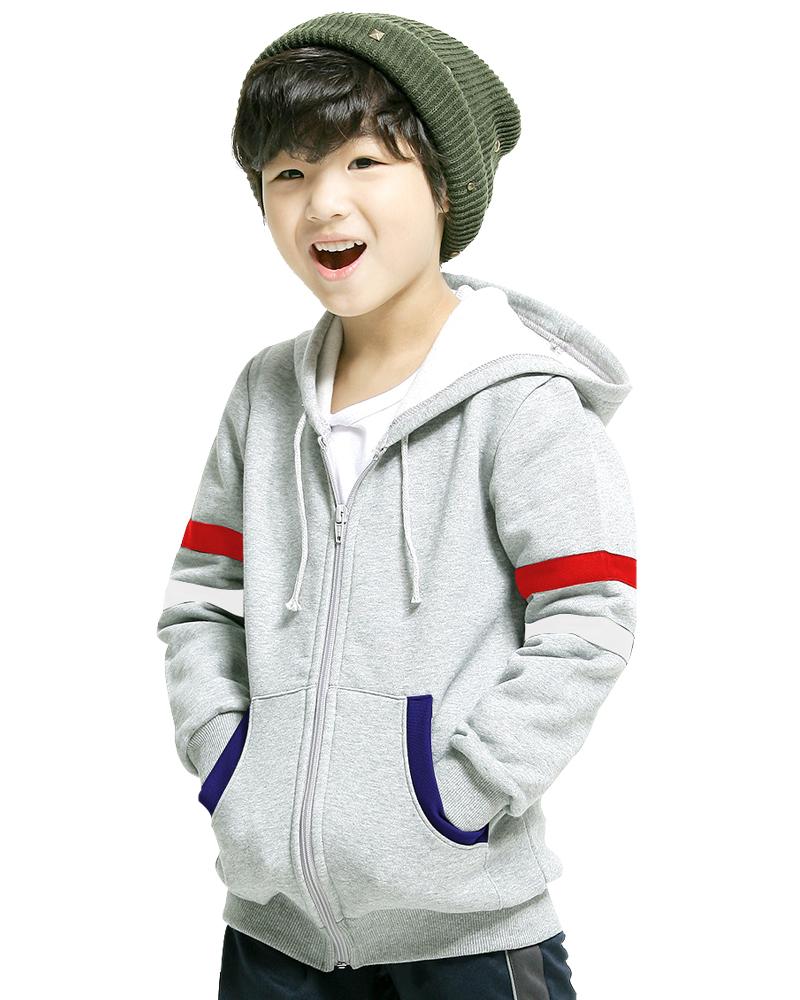 帽T保暖外套 童 灰
