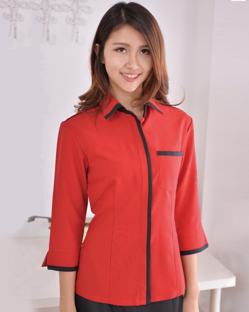七分袖襯衫 紅配黑
