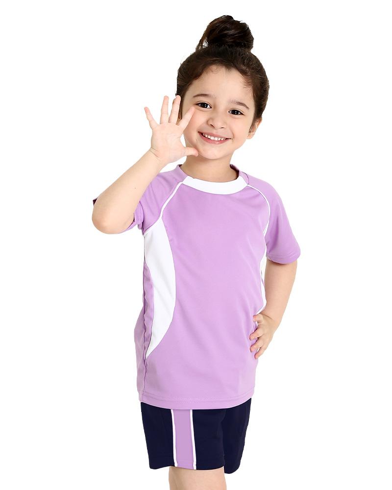 T恤訂製款幼兒園運動T-粉紫配白 PCANK-THQ-A61