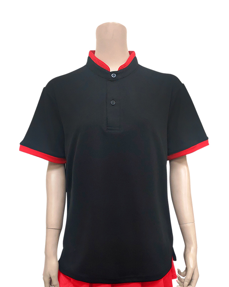 POLO衫訂製立領接袖-黑配紅 PCANB-S41-00469
