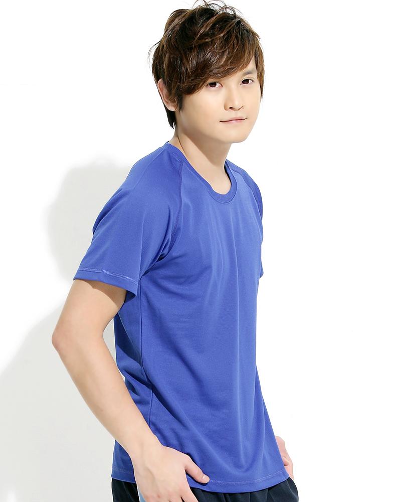 透氣排汗T 圓領短袖 中性 斜袖款 寶藍 THTB-A01-53