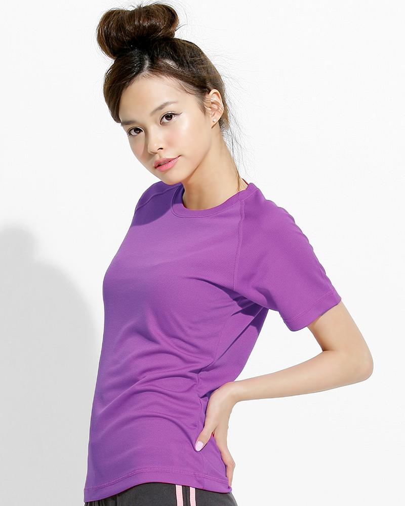 透氣T圓領斜袖 腰身 紫色