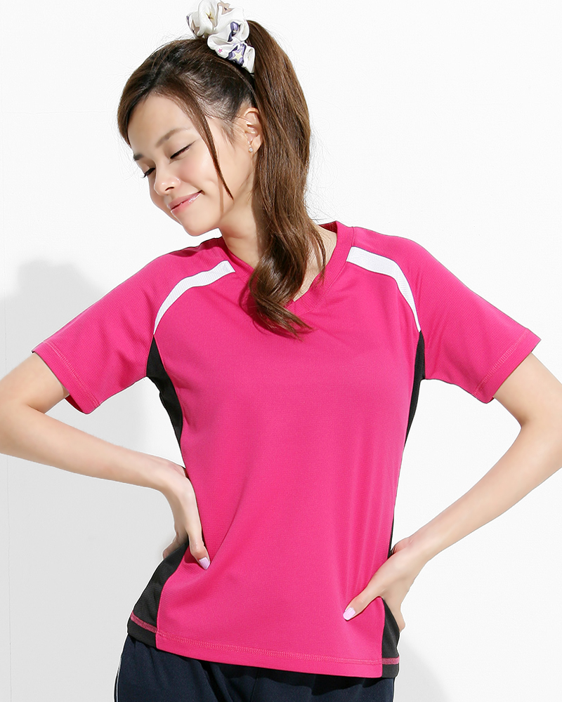 透氣排汗短T V領斜袖 腰身 接片款 玫紅 THTG-BB01-11