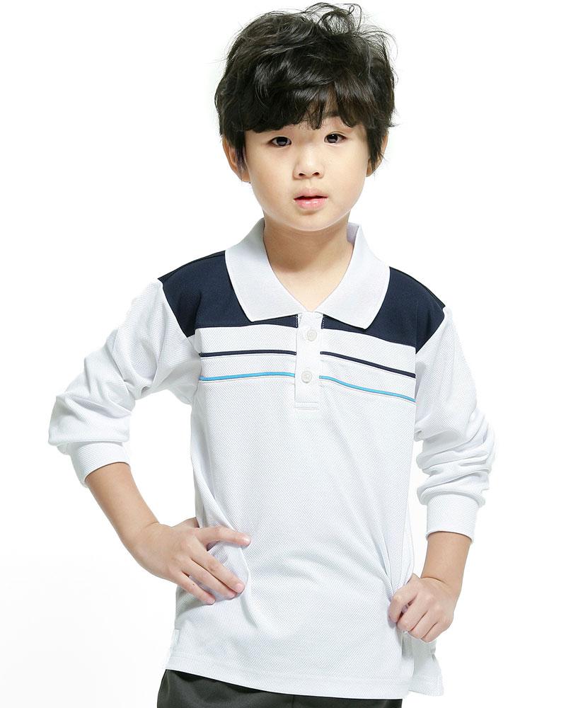 排汗POLO衫 長袖 雙面排汗 童 白丈青出芽翠藍 PHCK-PB02-241