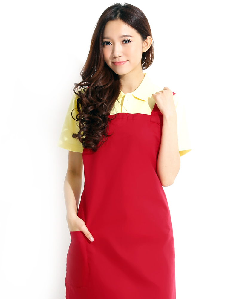 日式防潑水圍裙 大紅