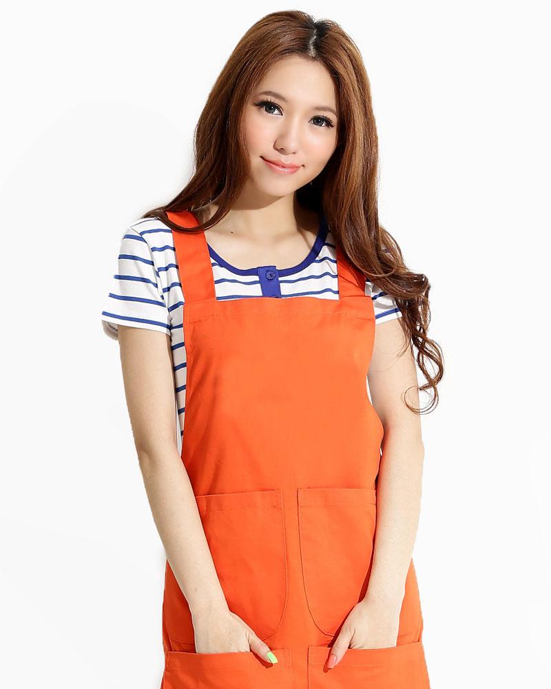 工作圍裙日式 加4大口袋 訂製款 橘 APCAN-A-00008